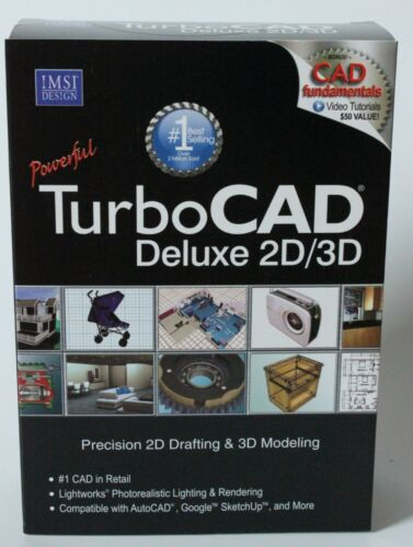 TurboCAD Version 19 Deluxe 2D/3D Precision 2D Drafting & 3D Modeling IMSI New