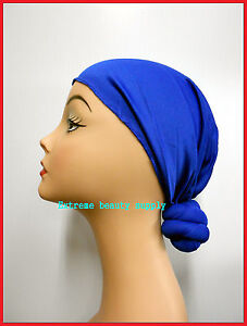 Knotted-Head-Stretch-Wrap-Turban-SKULL-CAP-royal-blue