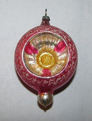 Pink Flower Shape - Antique Mercury Glass Pink Swirl Flower Indent Tear Drop Flower Shape (2 Sides)