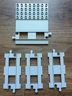 Lego Duplo lighter gray 3 straight & 8 curved + 1 track lot good used condition