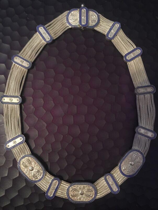 Greek Byzantine Sterling Silver Blue Cloisonne Multi Strand Draping Necklace.