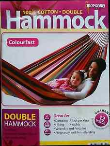 NEW!! DOUBLE HAMMOCKS 100% COTTON / 4 COLOUR CHOICES 200KG RATING Arundel Gold Coast City Preview