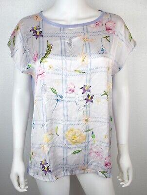 Zara Medium Lavender Purple Floral Botanical Flower Spring Shirt Top Blouse