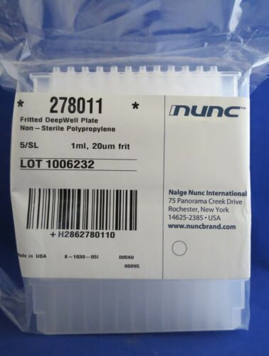 5 Nunc 1mL Filtering DeepWell Microplates 20um PET Frit 278011 Filter Plate