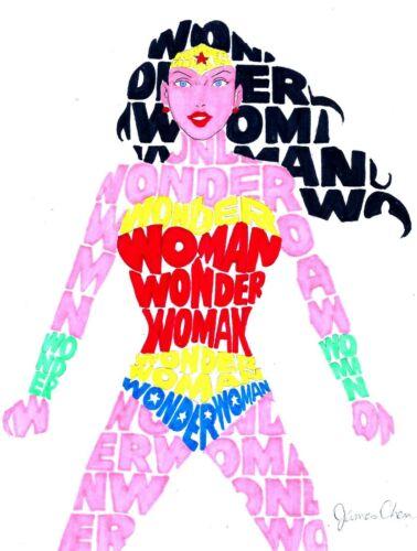 WONDER WOMAN FINE ART POP ART ORIGINAL COMIC ART 6 BY COMIC ARTIST JAMES CHEN