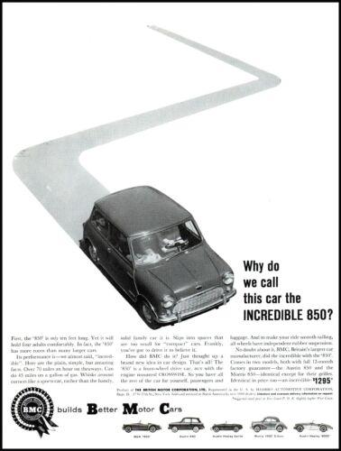 1960 BMC Austin 850 British Motor Cars automobiles vintage photo print ad ADL12