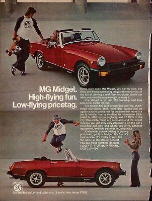 1977 MG Midget Convertible Red Car High Flying Fun Skateboard Photo Print Ad