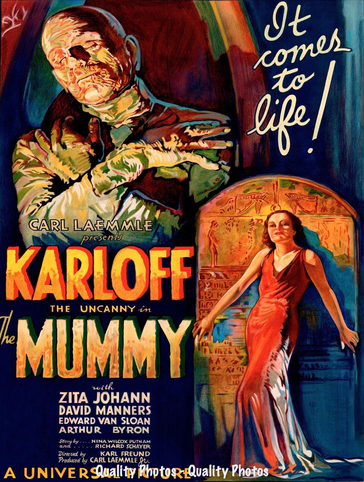 1932 THE MUMMY WITH BORIS KARLOFF VINTAGE HORROR MOVIE POSTER PRINT 36x24 9 MIL