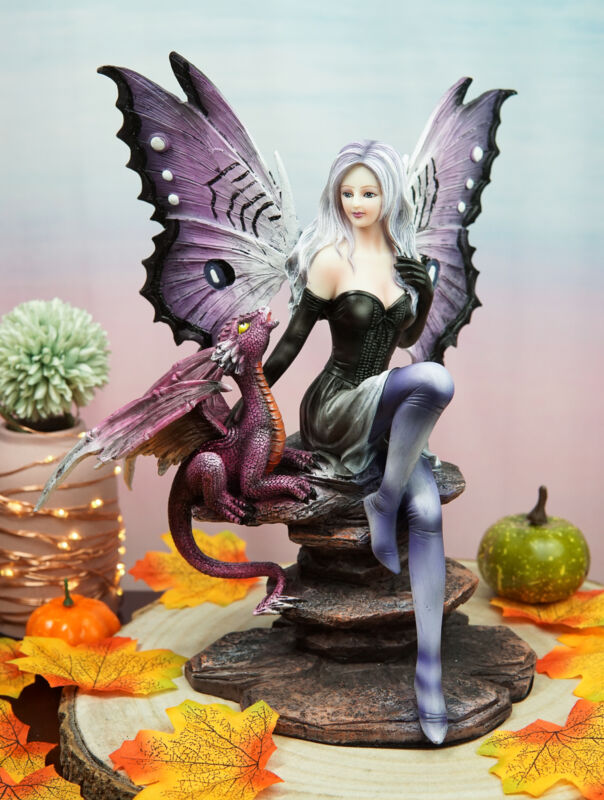 Ebros Large Purple Midnight Butterfly Winged Fairy With Wyvern Dragon Figurine