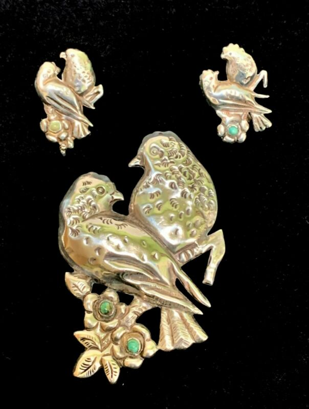 Vintage Mexican Sterling Lovebirds Set Brooch and Earrings Turquoise Flowers