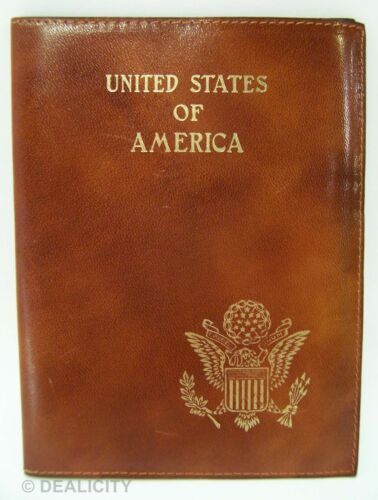 Vintage USA PASSPORT Cover Holder Italian Brown Leather Eagle America Seal H1