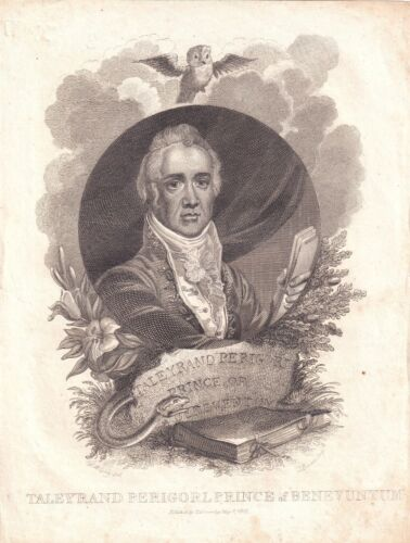 CHARLES MAURICE TALLEYRAND-PERIGORD French Diplomat 1815 lifetime engraving