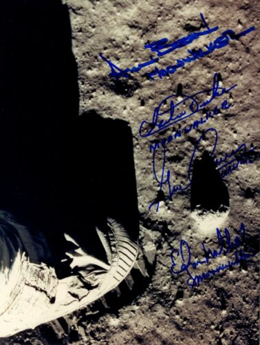 Apollo Moonwalkers signed boot print photo 8x10 Bean Duke Cernan Mitchell