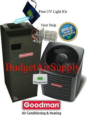 2 ton 16 SEER Goodman Heat Pump System GSZ160241+ASPT29B14+Tstat+Heat+UV LIGHT