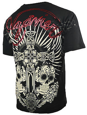 XZAVIER [SUGAR SKULL] T-SHIRT BIKER HARLEY ROCKER GOTHIC TRIBAL TATTOO INK CROSS