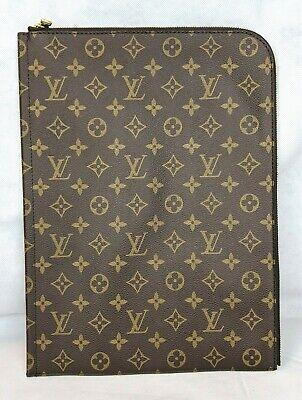 100 Authentic Louis Vuitton Monogram Zippered Portfolio Sleeve 14 X 9.75 New