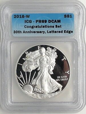 2016 W  1 Congratulations Set Proof Silver Eagle Pr69 30Th Ann Lettered Edge Icg