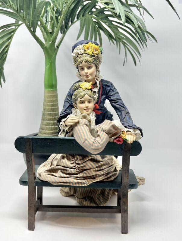 Victorian Ladies Fabric Mache Statue - 3D Art With Bench.
