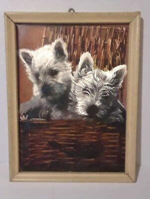 "Vintage Foil Picture White Westies in Basket Scotty Dog 6"" X 8"" Wooden Terrier"