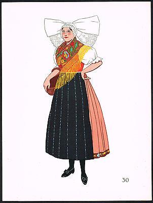 1930s Vintage Czech Plzen European Woman's Clothing Pochoir Art Print