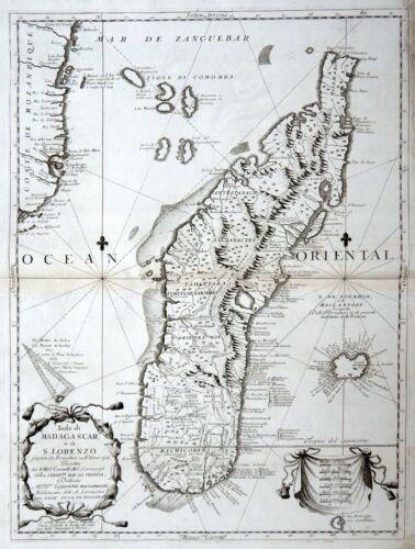 MADAGASCAR AFRICA 1690 CORONELLI Original Antique Map REUNION MOZAMBIQUE Chart