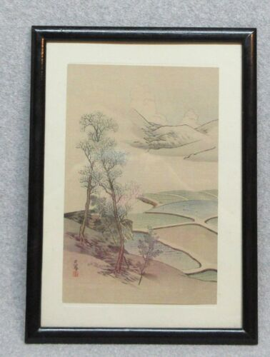 """LANDSCAPE"" by GEKKEI MATSUMURA Vintage Framed Japanese Hanging Scroll in frame"