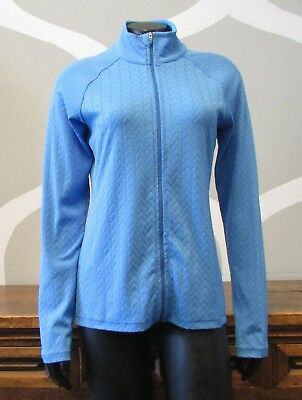 LUCY Small Light Blue Chevron Textured Lightweight Full Zip Jacket - S ()