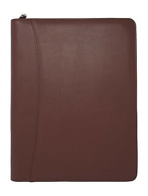 Lautus Designs Light Brown Faux Leather Zippered Portfolio W8.5x11 Notepad