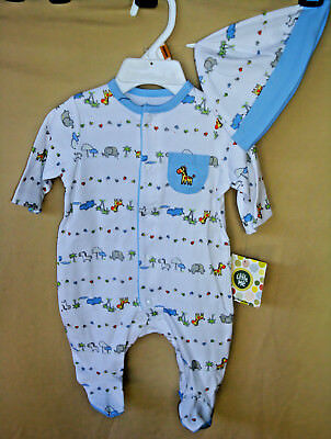 LITTLE ME 100% Cotton L/S White FUN ANIMAL SAFARI Footie w/Hat BOY SIZES  NWT