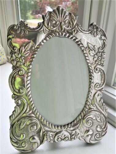 """BIG 10.5"""" STERLING SILVER PICTURE FRAME FLORAL VINTAGE ORNATE REPOUSSE SHELL"""