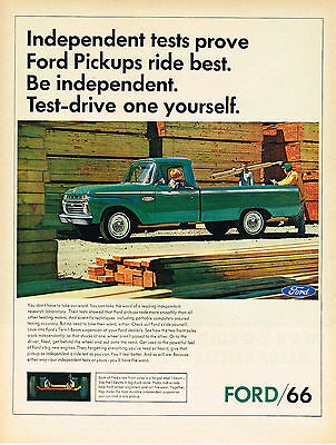Vintage 1966 Magazine Ad Ford Pickup Trucks Ride Best   Quaker Oat Meal