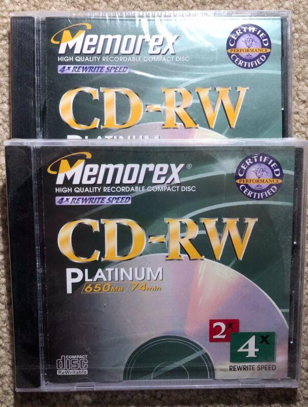 2 MEMOREX CD-RW PLATINUM 650MB 74 min CD-RW BRAND NEW UNOPENED. FREE SHIPPING