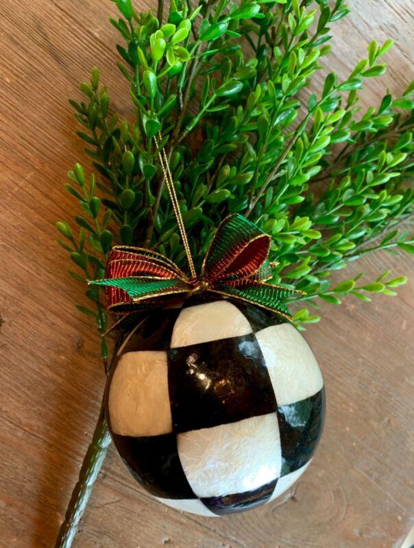 "MacKenzie Child's ""Courtly Check"" 4"" Ball Xmas Ornament"