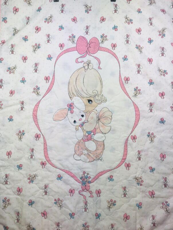 "Precious Moments Baby Bunny lanket Comforter Quilt Handmade 45"" x 35"""