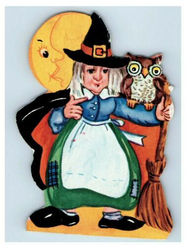 1940s Die-Cut Halloween Card Party Invitation Witch Owl Moon Broom