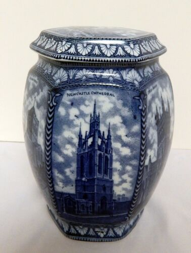 Rington Tea Jar Caddy Maling Ware England Tall Cathedral Design Ca.1929