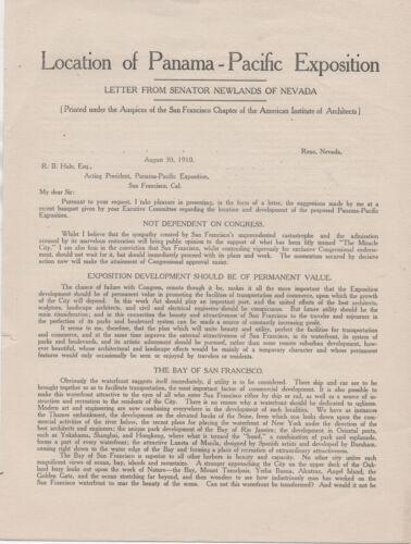 Rare 1910 Flier regarding location of the PPIE World