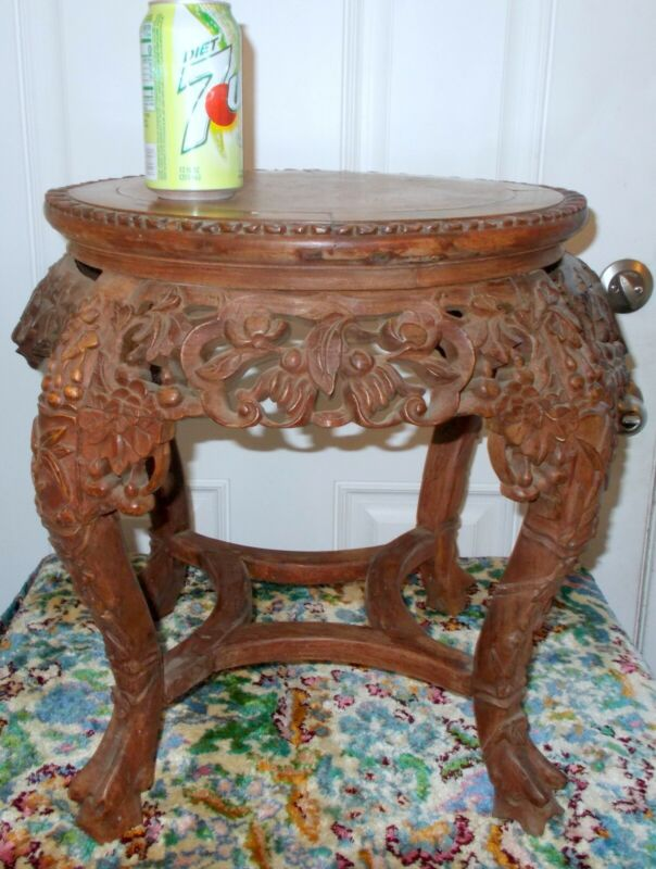 Superb Antique CHINESE CARVED TABLE TABOURET Marble Top Botanicals