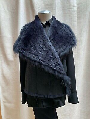 Yves Salomon NEW Rabbit Fur Black Navy Blue Sleeveless Leather Jacket Vest 34/2