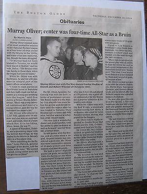 Obituary Boston Globe 12 18 2014 Murray Oliver 77  Boston Bruin All Star Center