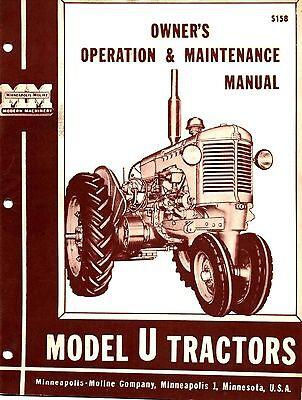 Minneapolis Moline U Ut Tractor Operators Manual Reproduction