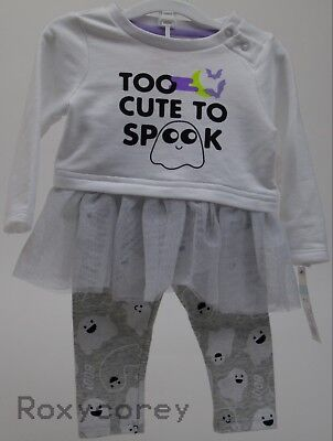 Halloween Baby Cat & Jack Too Cute To Spook Shirt & Pant Outfit Size 3-6 months