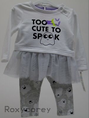 Halloween Baby Cat & Jack Too Cute To Spook Shirt & Pant Outfit Size Newborn NWT (Newborn Girl Halloween Costumes)