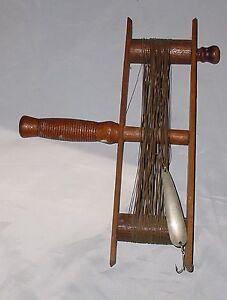 Antique wooden fishing hand line reel alaska for Handline fishing reel