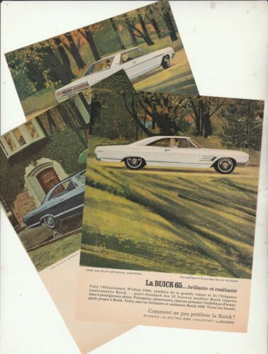 65 BUICK WILDCAT  SKYLARK  ORIGINAL AD  3 PAGES  FRENCH