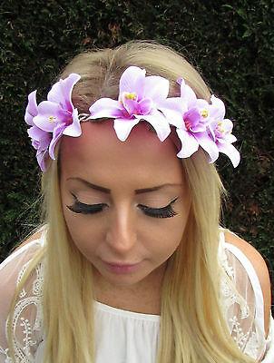 Light Purple Orchid Flower Garland Headband Hair Crown Boho Hawaiian Beach 1684