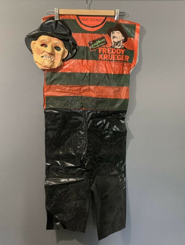 Vintage 80s Freddy Krueger Nightmare on Elm Street Child Size Vinyl Costume