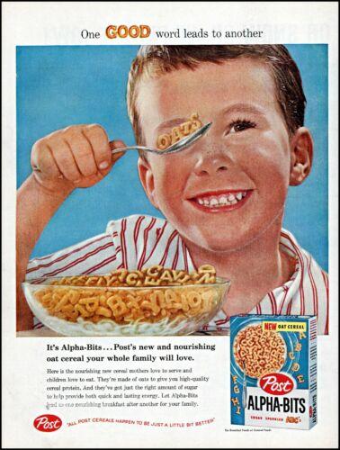 1958 young boy Post Alpha-Bits cereal milk bowl vintage photo print ad adl77
