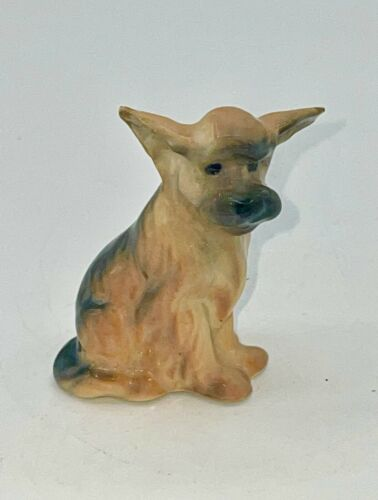 """Cute Dog Miniature Figurine - Grey & Tan 2"""" EUC - Looking For A Forever Home"""