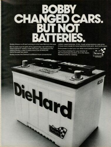 1976 Sears DieHard Bobby Allison NASCAR New Mercury Race Car Vintage Print Ad